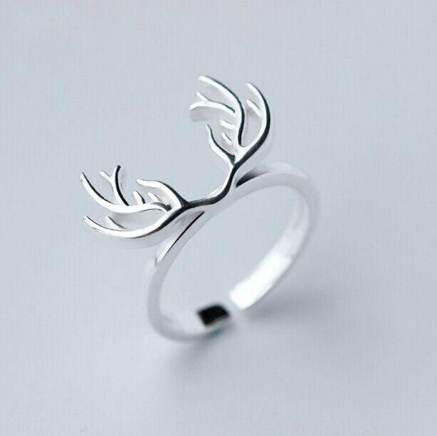Стерлингового серебра 925 животных рога оленя кольца для женщин рождественский…
