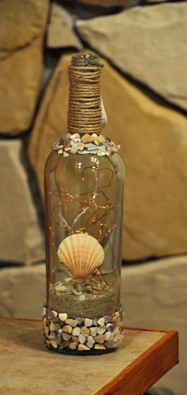 Wine Bottle at The Beach w/Lights