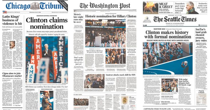 Papers Criticized for Using Bill Clinton Photo for Historic Hillary News
