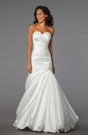Sweetheart Mermaid Wedding Dress  with Dropped Waist in Silk Satin. Bridal Gown Style Number:32848236