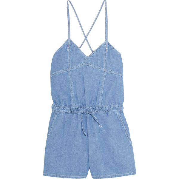 SJYP Steve J & Yoni P Denim playsuit found on Polyvore featuring jumpsuits, rompers, romper, jumpsuit, dresses, playsuit, light denim, jump suit, romper jumpsuit and loose fit jumpsuit