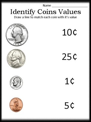 identify coin values  math  money worksheets math worksheets