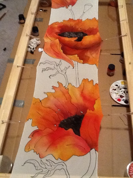 My very first silk painting- in progress by Stacie Wilcox  Good Job girl!!!