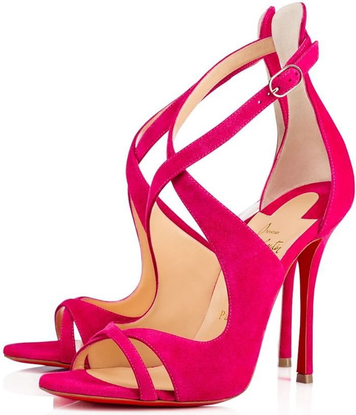 Christian Louboutin 'Malefissima' Crisscross 100mm Red Sole Sandals