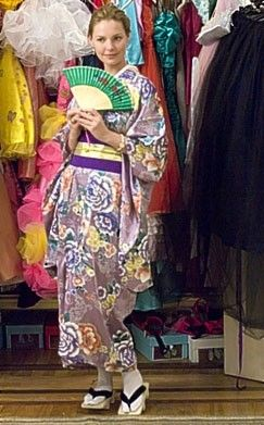 """Dress # 21 I'm not familiar with the different nuances of the eastern styles, but I think it's a japanese kimono. In the movie it's referred to as """"benihana""""."""