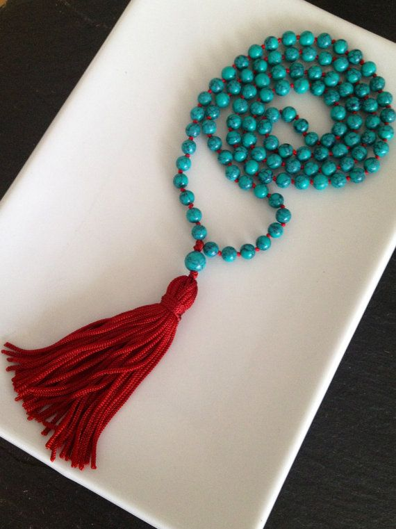 Turquoise Beaded Mala Necklace on Etsy, $50.00