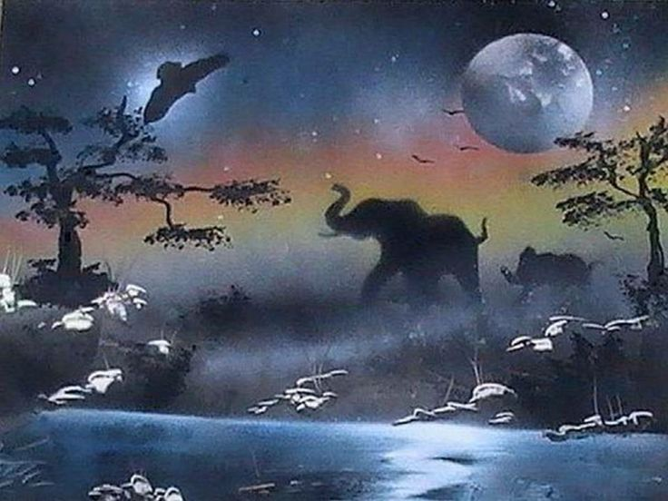 Nature In Night In This Beautiful Watercolor Painting