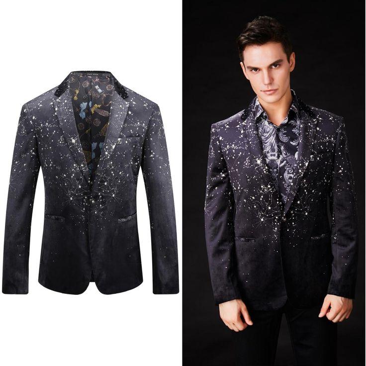 OSCN7 Star Printed Bazer Jacket Men 2017 New Slim Fit Leisure Blazer Masculino Party Stage Fashion Blazer Men