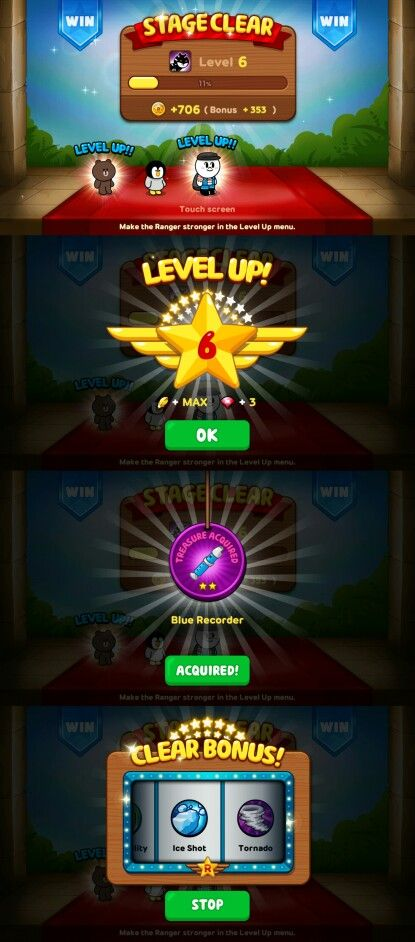 Line rangers: stage finished, level up, rewards sequence
