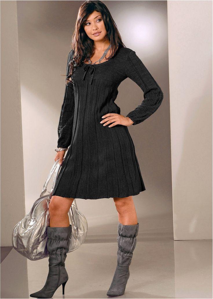 Strickkleid schwarz jetzt im Online Shop von bonprix.de ab ? 25,99 bestellen. Trendy Strickkleid mit Schleife am Ausschnitt verziert, leicht ausgestellter ...