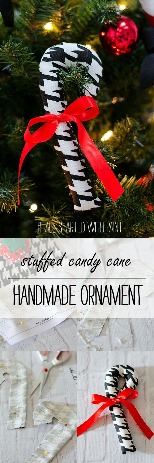 Stuffed Candy Cane Ornament - It All Started With Paint