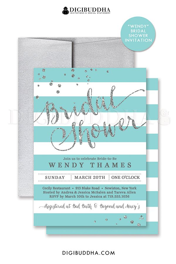 Aqua and white stripes bridal shower invitation with silver glitter, turquoise details and confetti sprinkles in the corners. Choose from ready made printed invitations with envelopes or printable bridal shower invitations. Silver shimmer envelopes also available. digibuddha.com