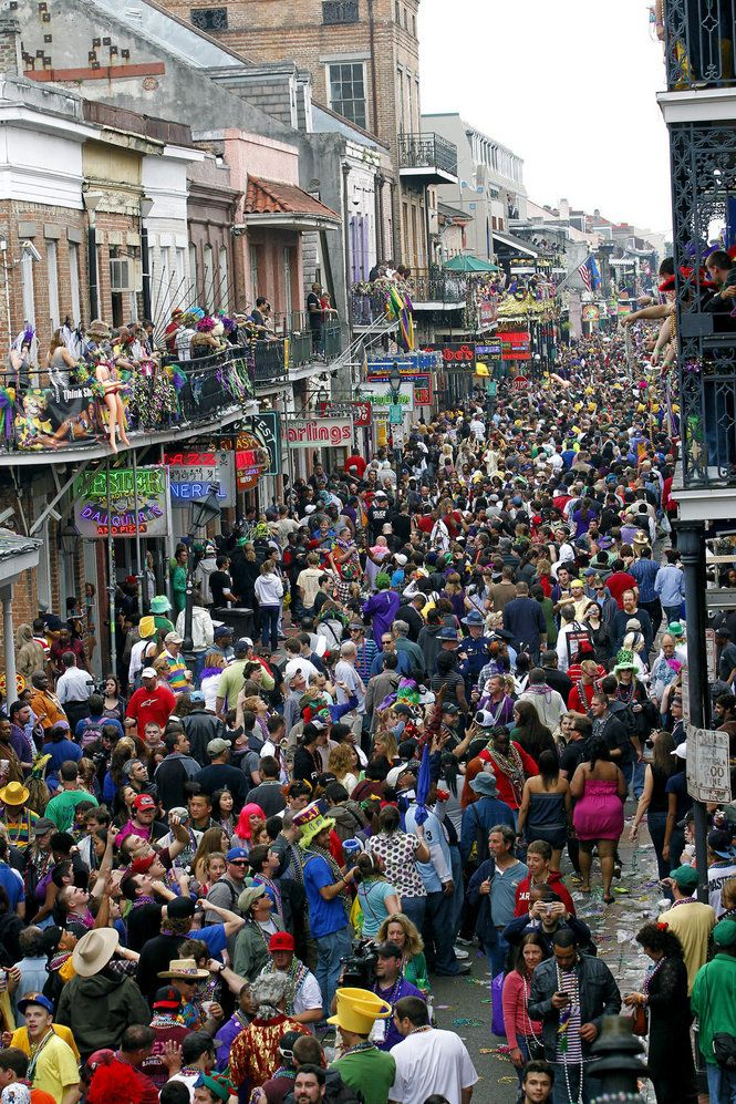 Mardi Gras in New Orleans.  A bit crowded, I'd say. I can smell the quarter, if you've ever been there you know what I mean!