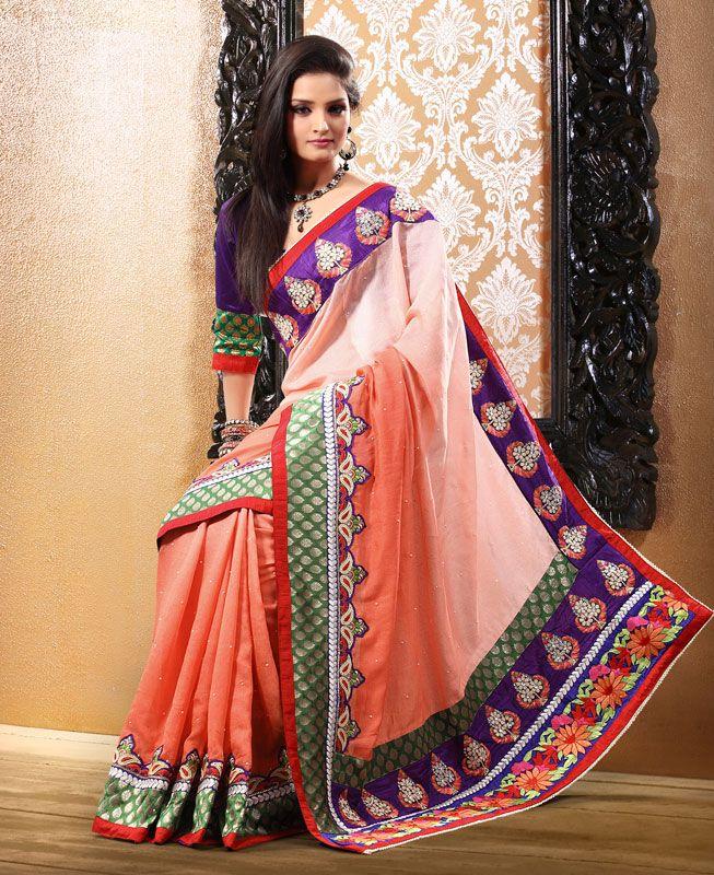Peach Shaded Reshami Enhanced Saree Designed. See our whole sarees collection@ http://www.shadesandyou.com/product-category/sarees/.  #WeddingSarees #BridalSarees #BuySareesOnline