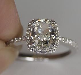 1.6 carat cushion with halo, so dainty and pretty!