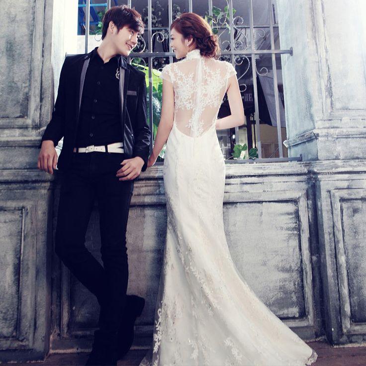 White qi pao wedding dress