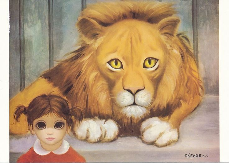BIG EYES   MARGARET KEANE   WALTER KEANE   THE LION AND THE CHILD   1963   MASTERFULLY REPRODUCED PRISTINE PHOTO   4x6 • 8x10 • 16x20