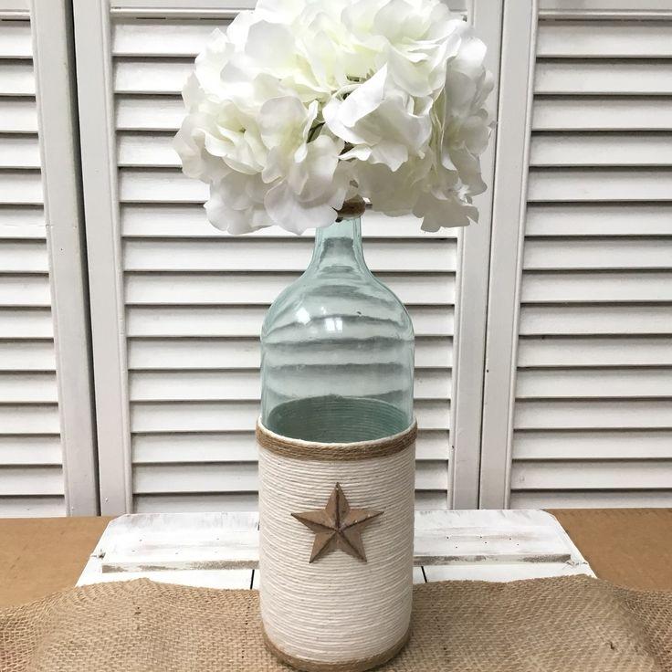 Handmade beach shabby chic Large Twine Wine Bottle Vase Decor - Mercari: BUY & SELL THINGS YOU LOVE