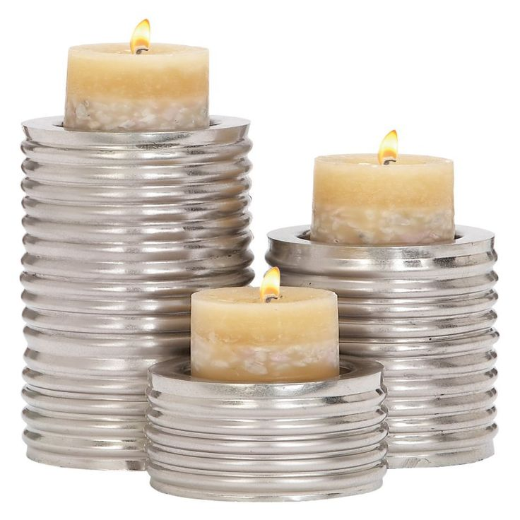 DecMode Contemporary Candle Holder - Set of 3 - 34568