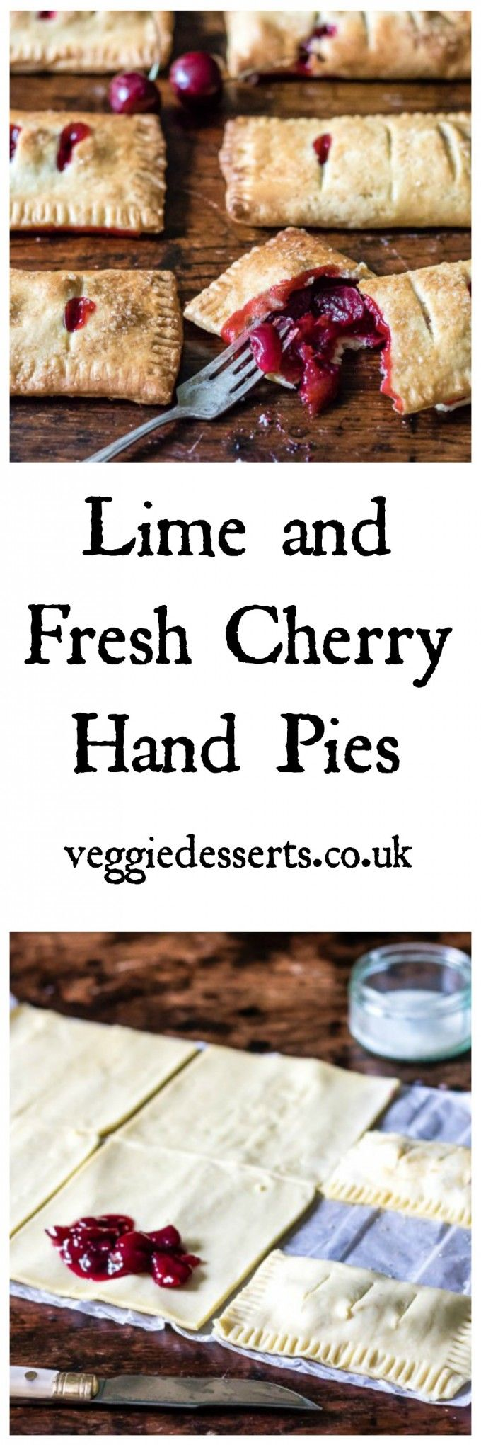 Lime and Fresh Cherry Hand Pies | Veggie Desserts Blog >>> These cherry hand pies are quick and easy to make, particularly with store-bought shortcrust pastry. They're a great way to use up the season's beautiful sweet cherries.