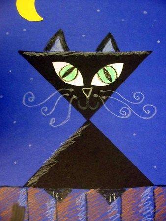 Black Cat Collage/Crayon - 1st - light/dark value, geometric shape, line direction