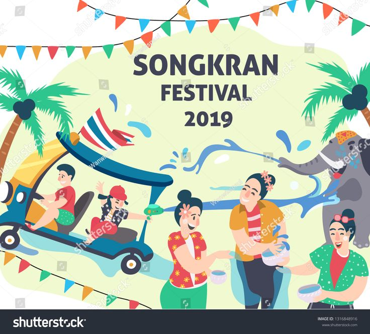 Songkran Festival People Playing Water Surrounded With Elephant And Tuk Tuk Or Thai Taxi Water Festival Elemen In 2021 Songkran Festival Festival Design Illustration
