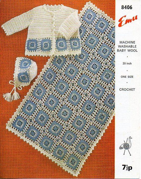 Vintage Baby Crochet Blanket Pattern Matinee Coat Bonnet Crochet