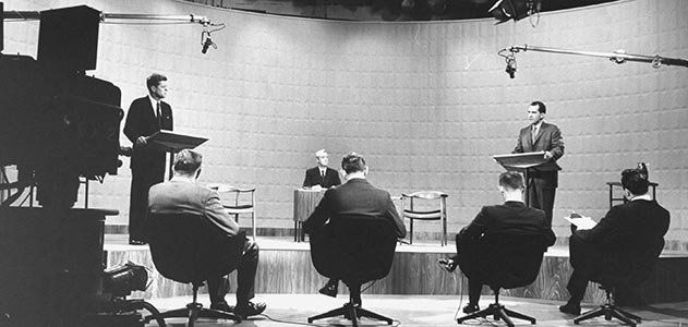 Debating on Television: Then and Now - Kennedy and Nixon squared off in the first televised presidential debate 56 years ago & politics have never been the same. Alittle more than half a century ago, American politics stumbled into a new era. In WBBM-TV studios in Chicago on September 26, 1960, presidential candidates Richard M. Nixon & John F. Kennedy stood before cameras and hot lights for the first-ever televised presidential debate. An extraordinary 60 percent of adults nationwide