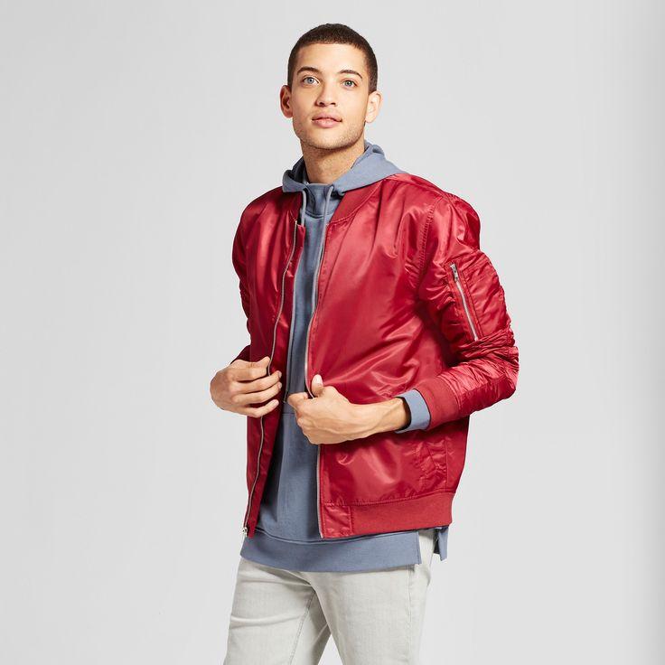 Men's Nylon Bomber Jacket - Jackson Burgundy M, Red