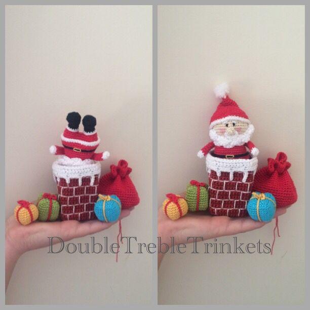 Crocheted Santa in the chimney