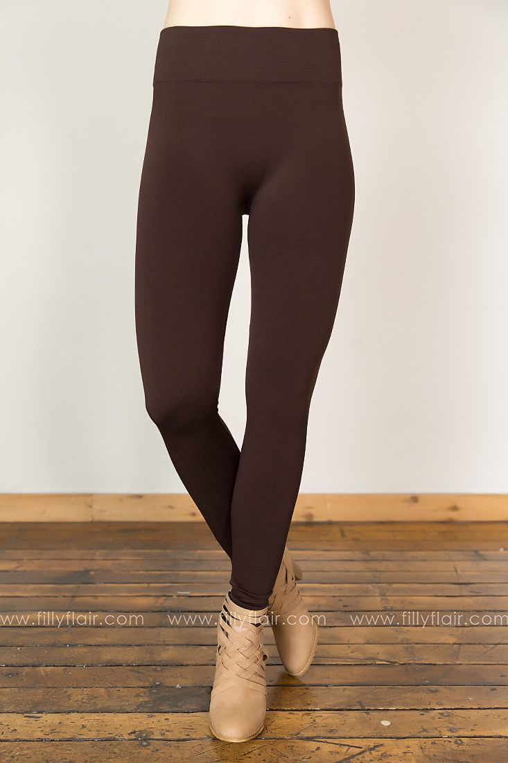 High Waisted Fleece Leggings in Brown