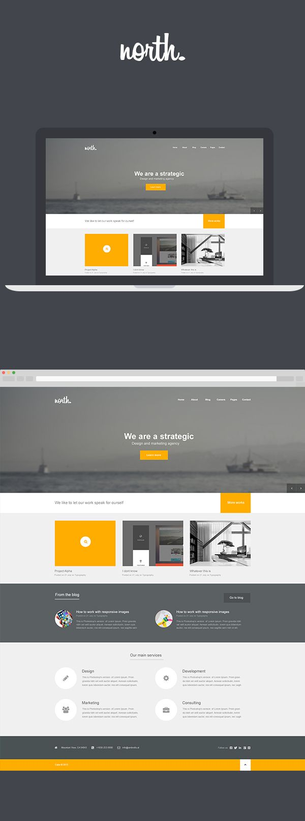 North by Arian Selimaj, via Behance - Flat Web Design Inspiration
