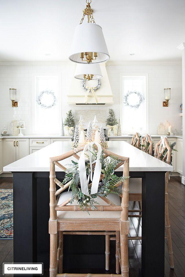 Christmas Kitchen Decorating Silver Gold Greenery Elegant Home Decor Kitchen Design Decor Decor