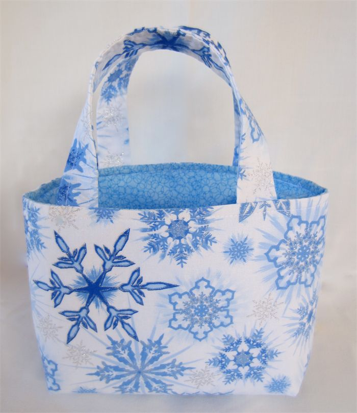 Girls Play or Dress Bag - Snowflakes with Glitter - White and Blue | by LittleStarrs |