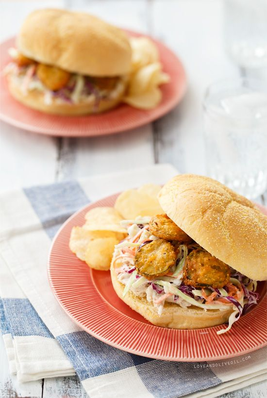 """Summer Slaw Sandwiches with Fried Pickles - wonder how I can veganize w/o a ton of """"fake"""" vegan replacements..."""