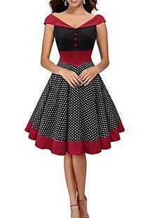 A-vonalú Ruha Női Vintage Alkalmi,Pöttyös V-alakú Térdig érő Ujjatlan Piros Pamut / Poliészter Nyári