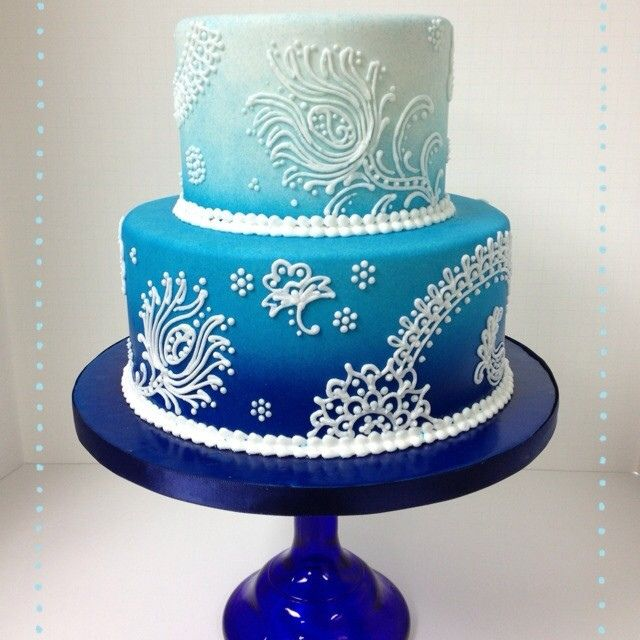Blue Ombre Peacock Feather Cake- Idea Hombre in Purple, Gold Henna accents
