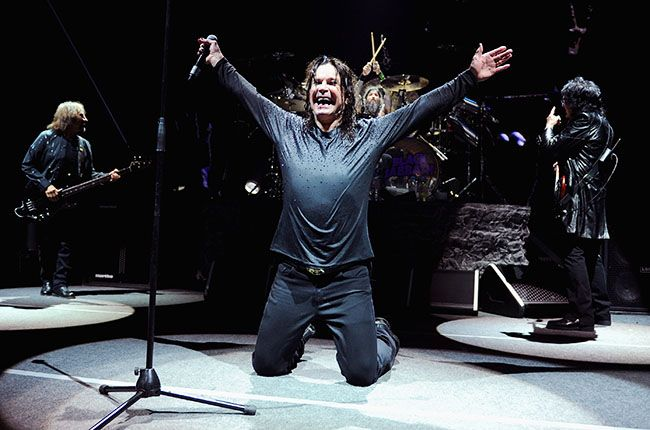 March 31: Geezer Butler, Ozzy Osbourne, Tommy Clufetos, and Tony Iommi of Black Sabbath perform onstage at Barclays Center of Brooklyn in New York City.