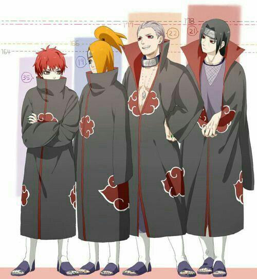 Sasori, Deidara, Hidan, Itachi, funny, height, text, age, Akatsuki; Naruto
