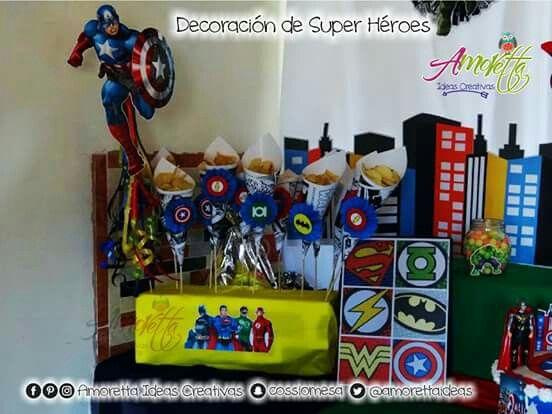 Decoración cumpleaños tipo super héroes