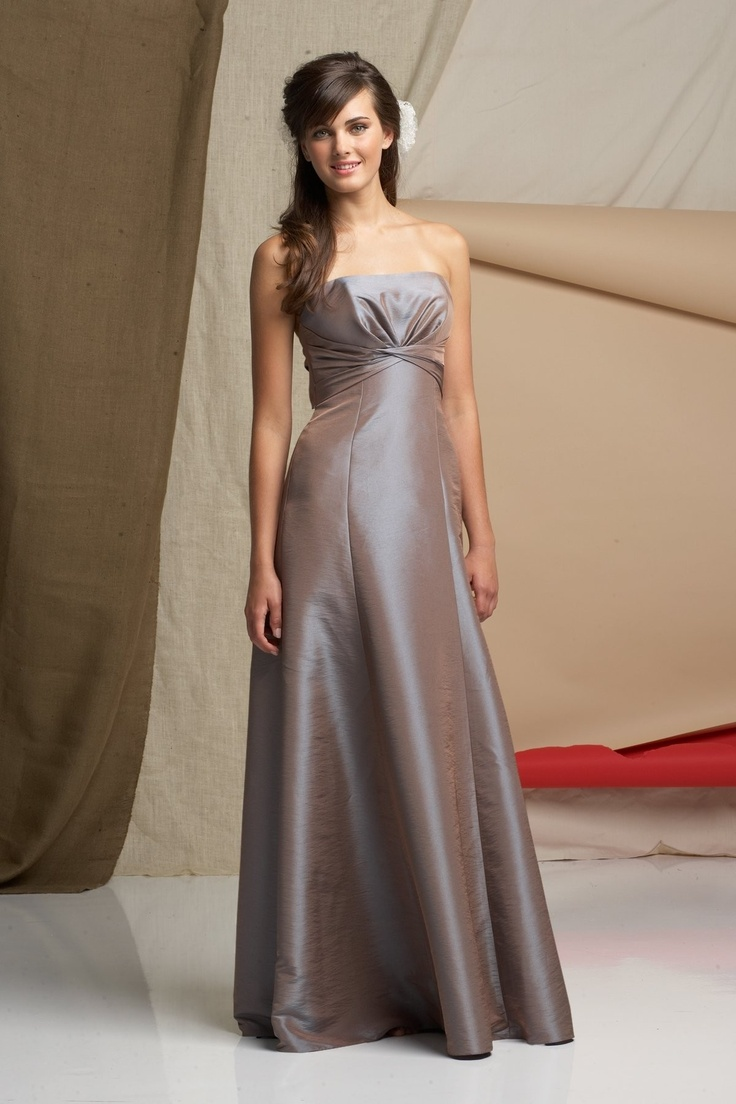 Taffeta Strapless Ruched Bodice Floor-Length Bridesmaid Dress