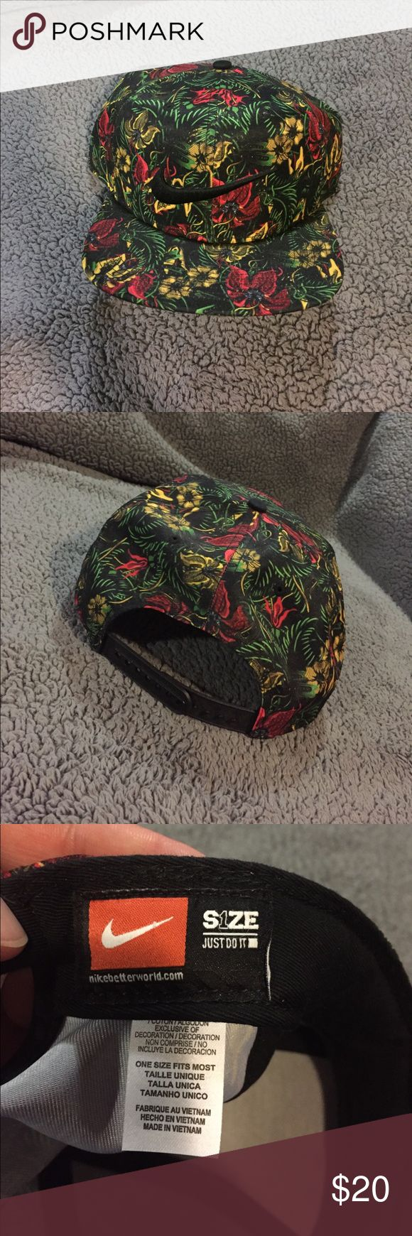 Nike Floral Flatbill SnapBack hat Kelly green, yellow and red floral on black background. One size fits most. Nike Accessories Hats