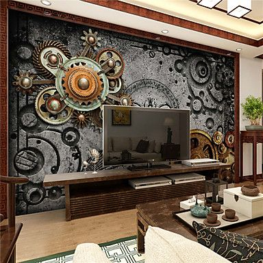 JAMMORY 3D Wallpaper For Home Contemporary Wall Covering Canvas Material Mechanical GearXL XXL XXXL 5467567 2017 – $84.99