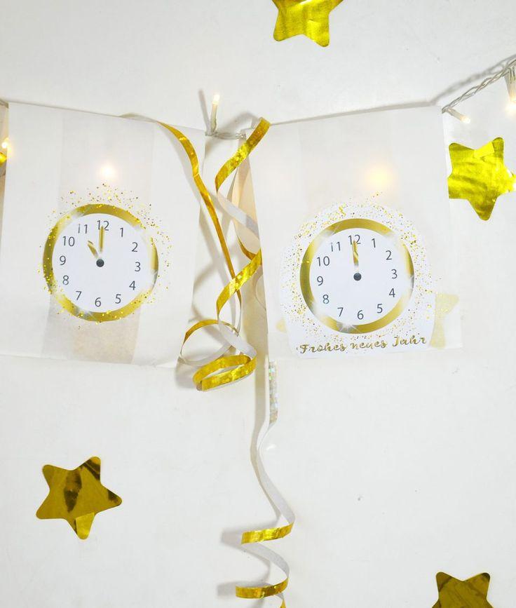 Silvester Countdown Überraschungstüten basteln - Süße Idee, besonders für eine Silvesterparty mit Kindern. In den Tüten könnt Ihr Süßigkeiten, Konfetti, Luftschlangen, Witze und Spielideen verstecken. Die Uhren mit den Countdown Stunden von 19.00 Uhr bis Mitternacht könnt Ihr Euch als Printable bei Minidrops ausdrucken. // #Silvester #Newyearseve #Countdown #Bastelvorlage #Uhr #Silvestermitkindern #basteln #minidrops