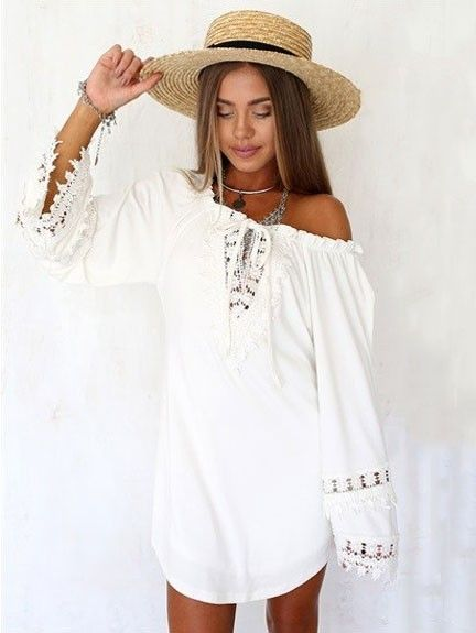 098d37ccb4ac Sexy White Lace Cotton V-neck Summer Backless Bell Sleeve Dress - WSDear.com