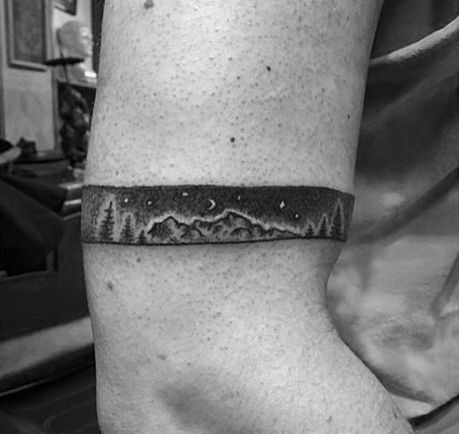 Mountains With Pine Trees And Night Sky Stars Male Armband Tattoo                                                                                                                                                                                 More