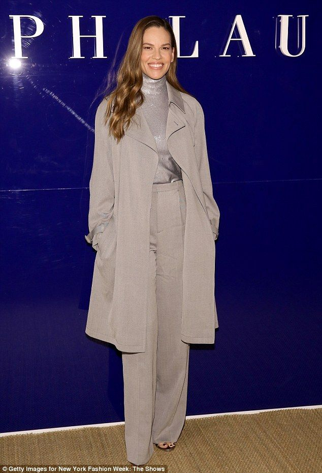 Shining star: Hilary Swank looked the epitome of sophisticated chic at the Ralph Lauren runway show in New York on Monday