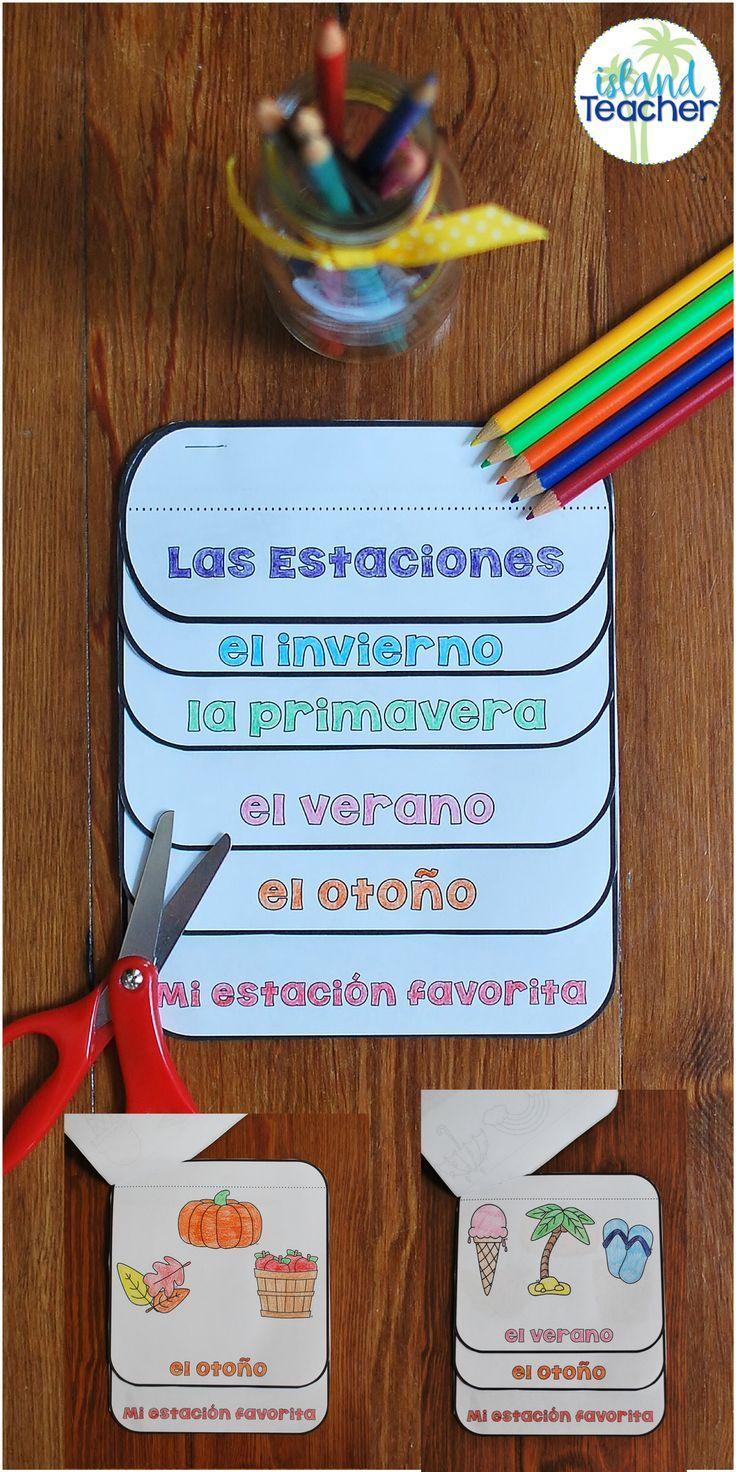 Spanish Seasons Interactive Flip Book. Great for Spanish Interactive Notebooks.