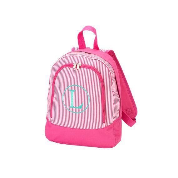 Pink Pinstripe Preschool Backpack  Pre-K  by OhSewFabulousQuilts