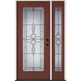Reliabilt Calista Decorative Glass Right Hand Inswing Wineberry Fiberglass Stained Entry Door Common 48 In X 80 In Ac Entry Door With Sidelights Reliabilt